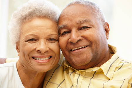 Senior African American couple at home Banco de Imagens