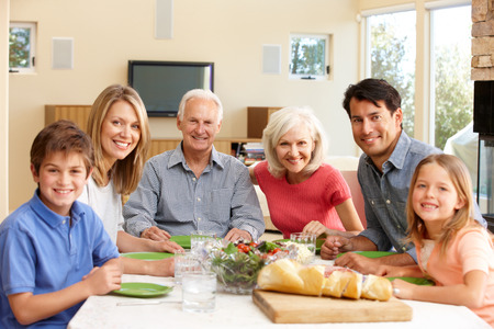 granny and grandad: Family sharing meal
