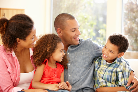 family and home: Mixed race family at home