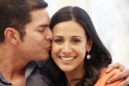 Hispanic couple at home Stock Photo