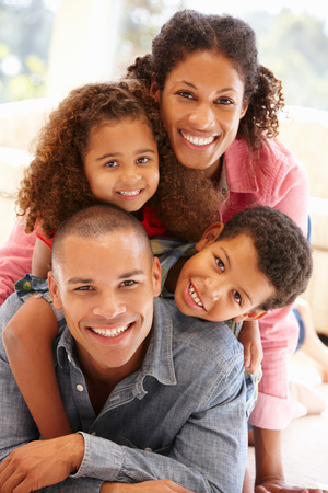 indoors: Mixed race family at home