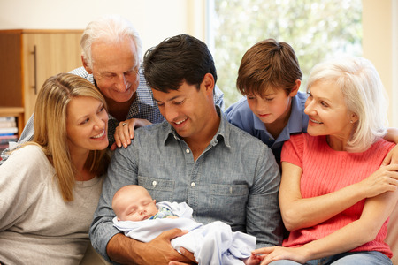 Multi-generatie familie portret Stockfoto
