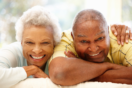 older women: Senior African American couple at home Stock Photo