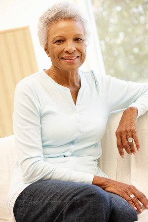 happy african: Senior African American woman at home Stock Photo