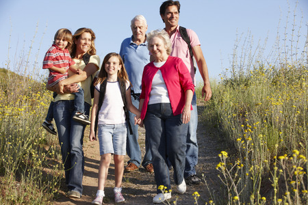 multigeneration: Multi-generation family on country walk