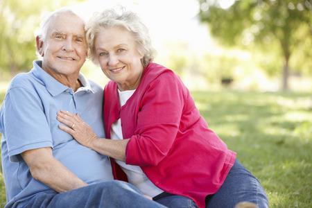 love park: Senior couple in park Stock Photo