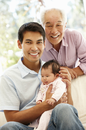 granddaughter: Asian father,son and granddaughter