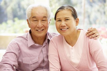 senior asian: Senior asian couple at home Stock Photo