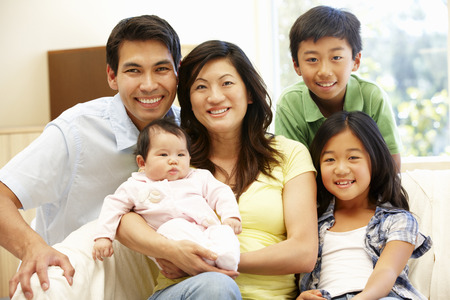 asian old lady: Asian family with baby Stock Photo
