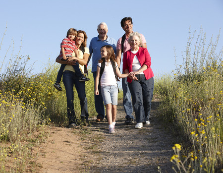 granny and grandad: Multi-generation family on country walk