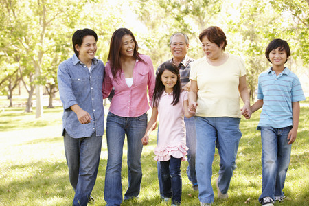 6 7 year old: Multi-generation Asian family walking in park