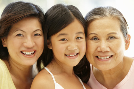 30s adult: Asian mother,daughter and grandmother Stock Photo