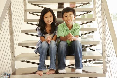アジアの兄と妹 写真素材