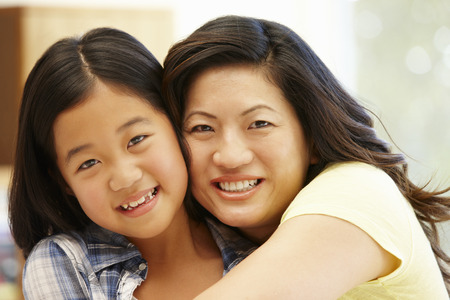 old asian: Asian mother and daughter