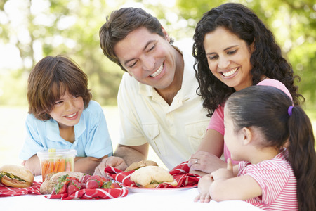 Young Hispanic Family Enjoying Picnic In Park Banque d'images