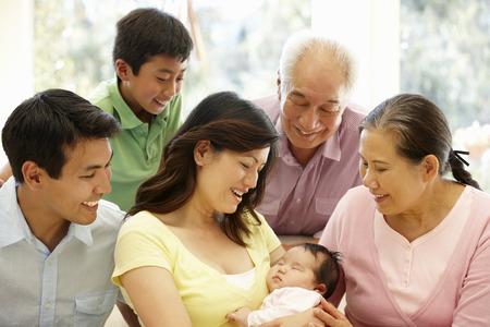 アジアの家族の肖像画 写真素材