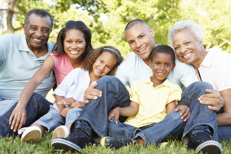 Multi Generation Afrikaanse Amerikaanse Familie ontspannen in het park