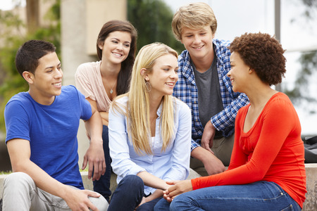 qualifications: Multi racial student group sitting outdoors