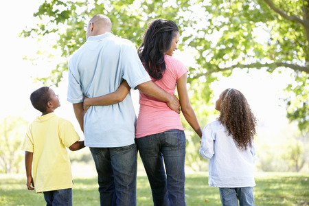 family outside: Young African American Family Enjoying Walk In Park Stock Photo