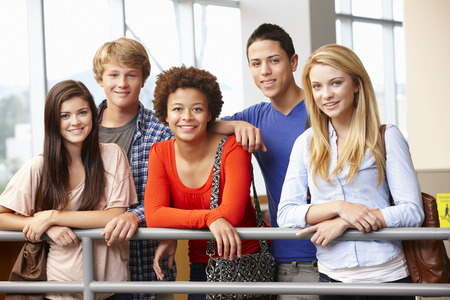 Multi racial student group indoors