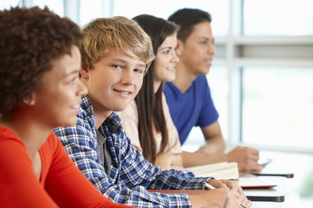 boy 15 year old: Multi racial teenage pupils in class, one smiling to camera