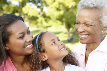 3 generation: African American Grandmother, Mother And Daughter Relaxing In Park