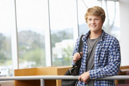 Teenage student boy indoors Foto de archivo