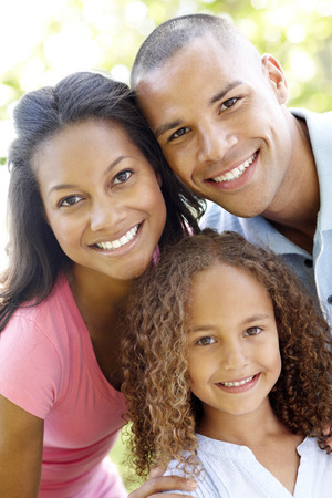 Close Up Portrait Of Young African American Family