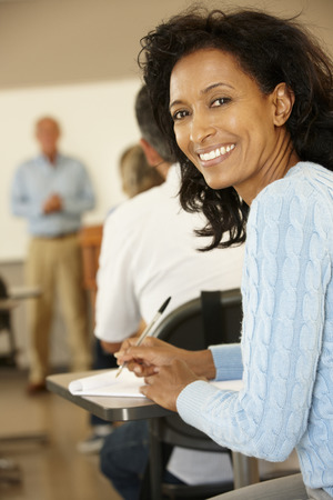 late forties: Mature student in class Stock Photo