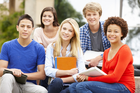 boy 16 year old: Multi racial student group sitting outdoors