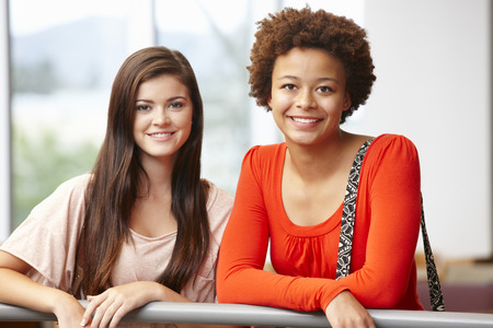 indoors: Teenage student girls indoors
