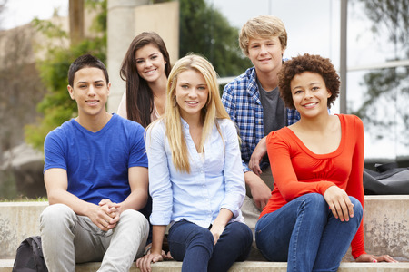 boy 15 year old: Multi racial student group sitting outdoors