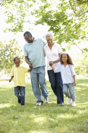 family with grandparents: African American Grandparents With Grandchildren Walking In Park