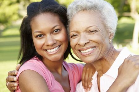 アフリカ系アメリカ人の母と公園でリラックスした大人の娘