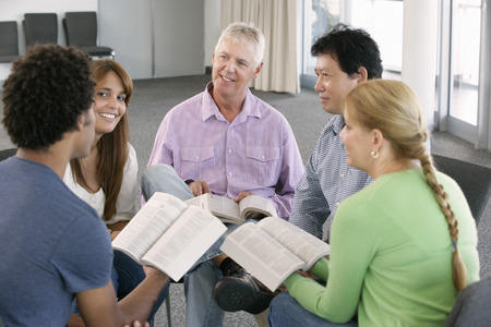 mixed age range: Meeting Of Bible Study Group