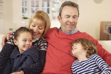 grandad: Portrait grandparents and grandchildren at home