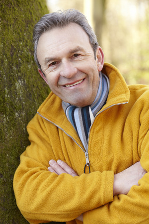 greying: Portrait mature man outdoors Stock Photo