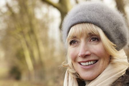 Portrait mature woman outdoors in winter Stock Photo