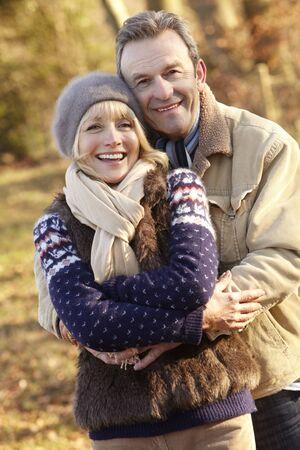 Portrait senior couple outdoors in winter Stock Photo