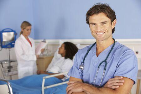 incidental people: Portrait male doctor working in hospital