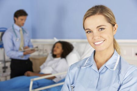 happy nurse: Portrait female nurse working in hospital Stock Photo