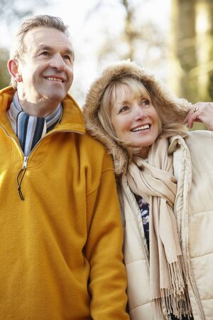 retired couple: Senior couple outdoors in winter