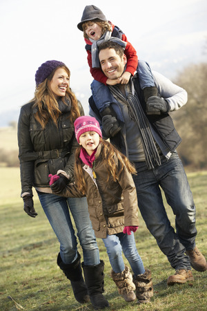fits in: Family on country walk in winter