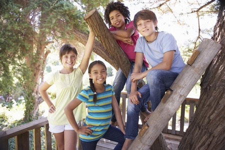 messing: Group Of Children Hanging Out In Treehouse Together