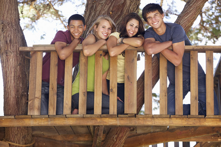 messing: Group Of Teenage Friends In Treehouse Stock Photo