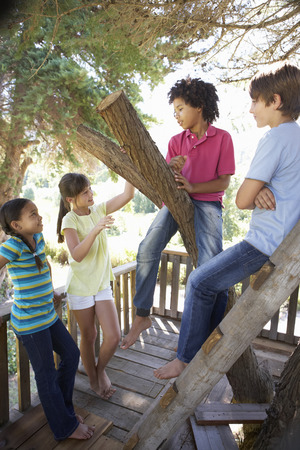 old girl: Group Of Children Hanging Out In Treehouse Together