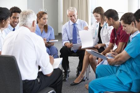 Portret van een groep werknemers in de medische beroepen Stockfoto
