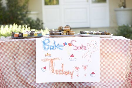 bake sale sign: Table Laid Out For Bake Sale Stock Photo