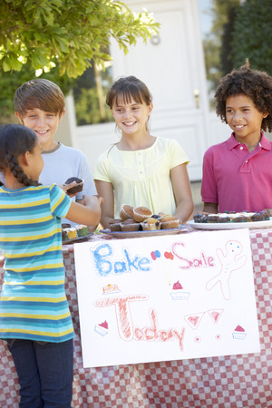 bake sale sign: Group Of Children Holding Bake Sale