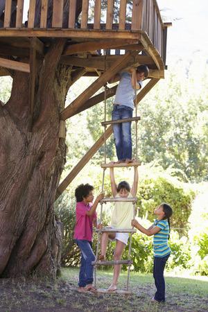 Groep Kinderen Klimtouw Ladder Aan Treehouse